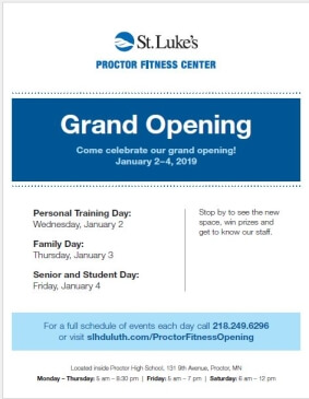 Proctor Fitness Center Grand Opening Flyer